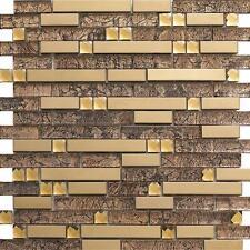 strip metal glass mosaic tile kitchen backsplash bathroom hotel bar wall tile