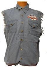 NEW! Men's American Muscle Sleeveless Denim Button Up Pocketed Biker Style Shirt