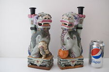 "Vintange Pair Asian Chinese Famille Rose Porcelain Foo Dogs Statues 11"" Signed"