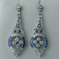 Art Deco Bezel Set Earrings Sapphire Round Diamond 14K white Gold FN 925 Silver