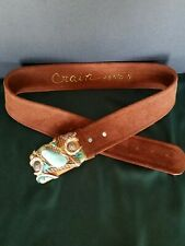 Vtg Crain Santa Fe Adjustable Belt, Multi Stone Buckle Brown Suede Leather 38""