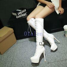 Women's Punk platform stilettos Lace Up Zip Buckle Knee High Boots Shoes Plus SI