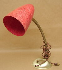 Antique Vtg Mid Century Modern Desk Table Lamp Goose Neck Red Fiberglass Shade