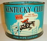 Vintage Kentucky Club Pipe & Cigarette Tobacco Tin Old Round Can w/ Pry Off Lid
