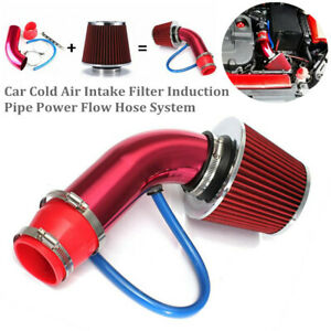 Red Car Cold Air Intake Filter Induction Pipe Power Flow Hose System Universal