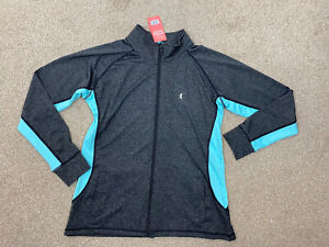 Tone Time Grey Blue Zip Up Sports Active Fitness Jacket Size 16-18