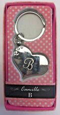 B INITIAL Camille heart silver color personalized KEYCHAIN BRAND NEW IN PACKAGE