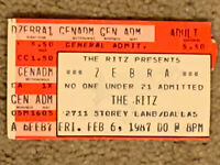 "ZEBRA - RARE From ""The Ritz""Dallas Texas CONCERT TICKET STUB 1987 TOUR 2-6-1987"
