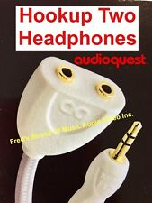 "NEW Audioquest Stereo Headphone Adapter Splitter Flexible Cable at 8"" Long best"