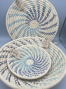 3 Hand Woven Raffia Coil Patterned Bowl + Hot Pad Africa Uganda Handmade NWT Set