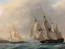"British Marine Artist Tim Thompson Oil painting on Panel ""cooks third Voyage"""