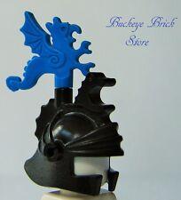 Lego Minifig Black DRAGON KNIGHT HELMET w/Blue Plume Dragon -Castle Headgear