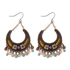 Women's Vintage Bohemian Boho Style Crescent Pink&Blue Beaded Dangle Earrings