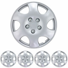 """15"""" Silver Hub Caps Wheel Cover OEM Replacement Snap On Hubcaps (Set of 4)"""