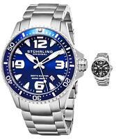Stuhrling 842 Men's Swiss Quartz Diver Watch Solid Stainless Steel Bracelet