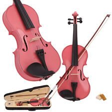 New 1/8 Size Kid Basswood Acoustic Violin Fiddle with Case Bow Rosin Pink
