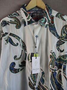 Robert Graham white blue cotton embroidered paisley shirt 3XL new nwt $278