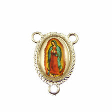 Our Lady of Guadalupe Virgin Mary center rosary part silver 25mm Catholic
