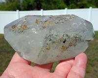 Green Chlorite Clear Quartz ELESTIAL Crystal Freeform DT Phantom Point For Sale
