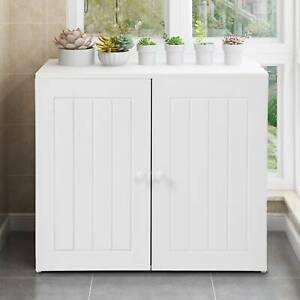 Bathroom Wall Cabinet Double Door Storage Cupboard Wooden White Shelf Cupboards