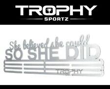 SO SHE DID Sports Medal Holder Stainless Steel Triple Universal Hanger Display