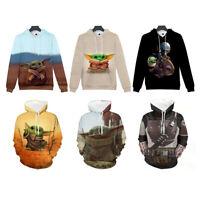 3D Cartoon Baby Yoda Star Wars Mandalorian Hoodie Sweater Pullover Sweatshirt