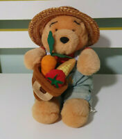 WINNIE THE POOH PLUSH TOY GARDENER STRAW HAT OVERALLS FRUIT CHARACTER TOY 18CM