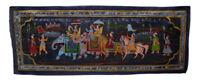 Parete Pittura Mughal Su Seta Arte Scena Di Vita India 97x37cm 8