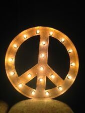 "New Rustic Metal Peace Sign  Light  Marquee: Sign Wall Decoration 24"" Vintage"