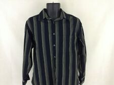 Geoffrey Beene Button Front Black Striped Shirt Size S Long Sleeve