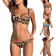 Damen Blumen Bademode Push-up Bikini Strand BH Thong Badebekleidung Badeanzug