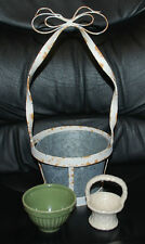 Easter Holiday LOT Baskets Home Decor White Wrought Iron Ceramic Green Pottery