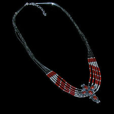 5 Strand 925 Liquid Sterling Silver Genuine Red Coral Cross Necklace