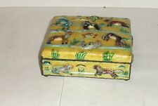 Rare Chinese Repousse Cloisonne Enamel Chinese Foo Dogs Dragons Humidor Jar Box