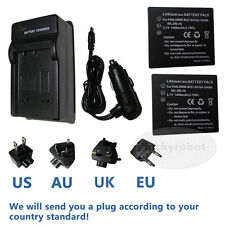 2X Battery+charger for Panasonic CGA-S008E/1B DMW-BCE10E Lumix DMC-FX30 DMC-FX33