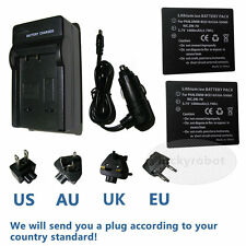 2X Battery+charger for Panasonic CGA-S008E/1B DMW-BCE10E Lumix DMC-FX30 DMC-FX33