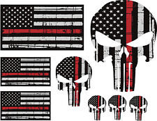 Punisher Skull American Flag Firefighter Red Line Kit Decal Sticker Graphic USA