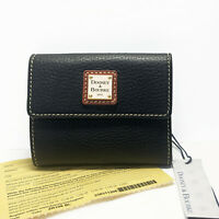 Dooney & Bourke Pebble Grain Black Leather Small Flap Wallet ZR106BL NEW w/card