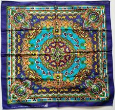 "COLORFUL PAISLEY BLUE 20"" BANDANA SCARF HEADBAND WRAP BIKER HOBO 100% COTTON #B2"