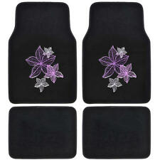 BDK Violet Purple Flowers Design Car Floor Mats Carpet Liners 4 Pieces Set Front