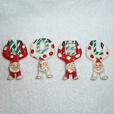 Vintage Christmas NOEL Clown Figurines RARE Hand Painted JAPAN Holt Howard