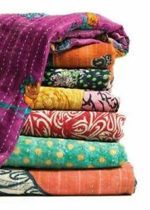 Indian Kantha Quilt Vintage Handmade Bedspread Cotton Blanket Throw Ralli Gudari