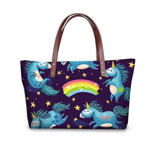Fashion Unicorn Desiugn Women Ladys Handbags Purse Shopping Bag Large Capacity