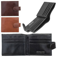 Mens RFID Blocking Luxury Crocodile Style Embossed Leather Style Wallet Purse