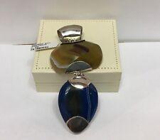 Ciondolo in Argento e Agata Blu E Verde Oliva