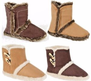 Ladies Microsuede Warm Snugg Slipper Boots Bootie Brown Tan Size 3,4,5,6,7,8