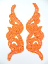 """Orange Sequin Appliques Beaded Scroll Mirror Pair Patch Iron on  7"""" JB233X"""
