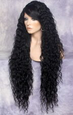 "38"" Long Lace Front Wig Spanish wavy bangs Jet Black HairPiece WESP 1"