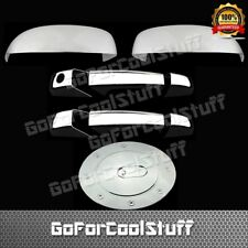 For 2007-2012 Cadillac Escalade Upper Mirror+2Drs Handle+Gas Cap Chrome Covers