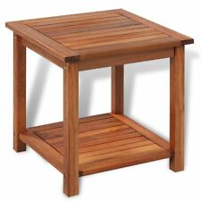 2 Tier Square Acacia Wood Coffee Table Nightstand Side End Table 45cm In/Outdoor
